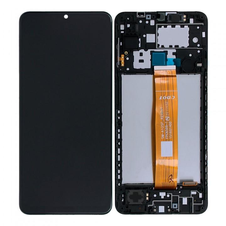 Дисплей Samsung A125 Galaxy A12 (2020) с тачскрином (Black) (Original) в рамке