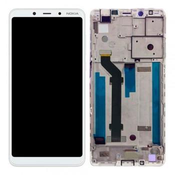 Дисплей Nokia 3.1 Plus с тачскрином (White) Original PRC в рамке