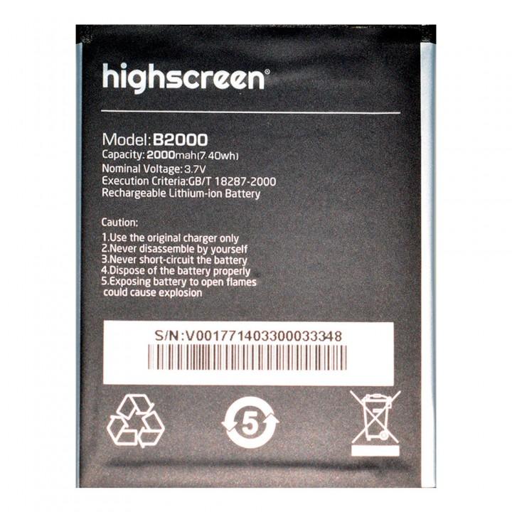 Аккумулятор Highscreen B2000 для Highscreen Omega Prime / Spider (2000 mAh)