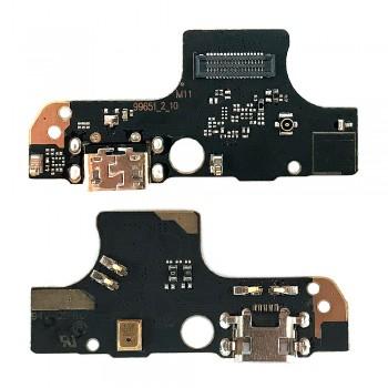 Нижняя плата Nokia 2.4 с разъемом зарядки и микрофоном (High Copy)