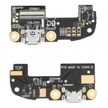 Нижняя плата Asus ZenFone 2 (ZE550ML) с разъемом зарядки и микрофоном
