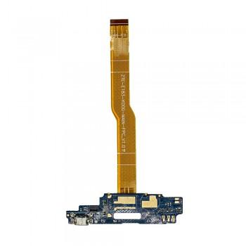 Нижняя плата ZTE Blade A610 с разъемом зарядки и микрофоном