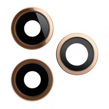 Стекло камеры для iPhone 11 Pro / 11 Pro Max в рамке (Gold)