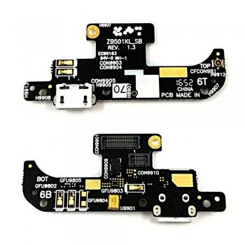 Нижняя плата Asus ZenFone Live (ZB501KL) с разъемом зарядки и микрофоном