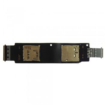 Шлейф Asus ZenFone 2 (ZE500CL) с разъемом SIM-карты и карты памяти