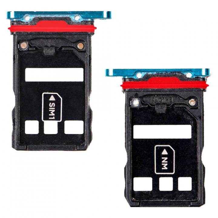 Держатель SIM-карты и MicroSD для Huawei P30 Pro (Aurora blue) (Original PRC)